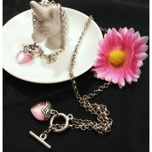 Silver Necklace & Bracelet Set Heart Charm